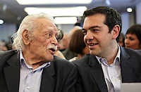 Pictured: Manolis Glezos with former Greek Prime Minister Alexis Tsipras. STOCK PICTURE<br /> Re: Manolis Glezos, who took down a flag with a swastika from the Acropolis 30th of May 1941.