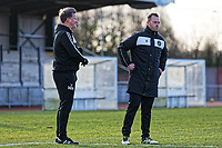 Pictured: Manager Michael Flynn (R) with one of his coaches. Thursday 18 January 2018<br /> Re: Players and staff of Newport County Football Club prepare at Newport Stadium, for their FA Cup game against Tottenham Hotspur in Wales, UK