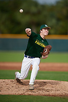 Nick Stodgell (22), from Rochester, New  York, while playing for the Athletics during the Baseball Factory Pirate City Christmas Camp & Tournament on December 29, 2017 at Pirate City in Bradenton, Florida.  (Mike Janes/Four Seam Images)