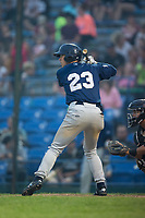Tristen Lutz (23) of the Helena Brewers at bat against the Great Falls Voyagers at Centene Stadium on August 18, 2017 in Helena, Montana.  The Voyagers defeated the Brewers 10-7.  (Brian Westerholt/Four Seam Images)