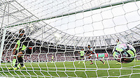 The ball hits the back of the Bournemouth goal for West Ham United's first Premier League goal in their new stadium during the EPL - Premier League match between West Ham United and Bournemouth at the Olympic Park, London, England on 21 August 2016. Photo by David Horn.