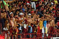 CUCUTA - COLOMBIA, 28-04-2019: Hinchas del Tolima animan a du equipo durante partido por la fecha 18 entre Cúcuta Deportivo y Deportes Tolima como parte de la Liga Águila I 2019 jugado en el estadio General Santander de la ciudad de Cúcuta. / Fans of Tolima cheer for their team during match for the date 18 between Cucuta Deportivo y Deportes Tolima as a part of Aguila League I 2019 played at General Santander stadium in Cucuta city. Photo: VizzorImage / Edgar Cusguen / Cont