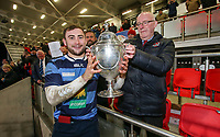 Wednesday 2nd January 2019 | MMW Junior Cup Final 2019<br /> <br /> Dromore captain Adam McGregor receives the  MMW Ulster Junior Cup from Ulster Branch President Steven Elliott after the Final between Ballynahinch RFC and Dromore RFC at Kingspan Stadium, Ravenhill Park, Belfast, Northern Ireland. Photo by John Dickson / DICKSONDIGITAL
