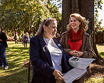 October 26, 2017. Raleigh, North Carolina.<br /> <br /> NC First Lady Kristin Cooper, right, spoke with attendees after the ceremony. <br /> <br /> A new garden designed by Ben Skelton containing native Plants For Birds was dedicated at the North Carolina Executive Mansion.
