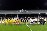 Both England Women and Australia Women line up during the Women's international friendly match between England Women and Australia at Craven Cottage, London, England on 9 October 2018. Photo by Carlton Myrie / PRiME Media Images.