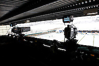 Photo: Richard Lane/Richard Lane Photography.  London Wasps v Newport Gwent Dragons. Heineken Cup. 19/12/2010. TV cameras at Adams Park in the snow.