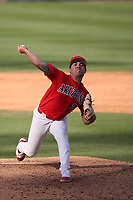 Vince Vannelle (26) of the Arizona Wildcats pitches against the UCLA Bruins at Jackie Robinson Stadium on March 20, 2021 in Los Angeles, California. Arizona defeated UCLA, 7-3. (Larry Goren/Four Seam Images)