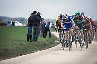 Zdenek Stybar (CZE/Deceuninck-Quick Step) leading the chase. <br /> <br /> 74th Omloop Het Nieuwsblad 2019 (BEL)<br /> Gent – Ninove: 200km<br /> ©kramon
