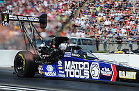 May 19, 2012; Topeka, KS, USA: NHRA top fuel dragster driver Antron Brown during qualifying for the Summer Nationals at Heartland Park Topeka. Mandatory Credit: Mark J. Rebilas-US PRESSWIRE