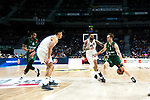 Zalgiris' Brandon Davies, Real Madrid's Gustavo Ayon, Real Madrid's Jeffery Taylor and Zalgiris' Nate Wolters during Euroligue match between Real Madrid and Zalgiris Kaunas at Wizink Center in Madrid, Spain. April 4, 2019.  (ALTERPHOTOS/Alconada)