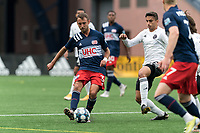 FOXBOROUGH, UNITED STATES - MAY 28: Jake Rozhansky #32 of New England Revolution II passes the ball during a game between Fort Lauderdale CF and New England Revolution II at Gillette Stadium on May 28, 2021 in Foxborough, Massachusetts.