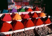 Colorful Tikka powder display at market Bijapur India.