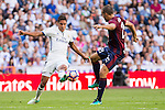 Real Madrid's Raphael Varane and Eibar's Pedro Leon durign the match of La Liga between Real Madrid and SD Eibar at Santiago Bernabeu Stadium in Madrid. October 02, 2016. (ALTERPHOTOS/Rodrigo Jimenez)