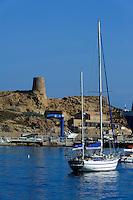 Halbinsel mit Genuesenturm und Hafen L'Ile Rousse, Korsika, Frankreich