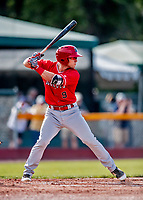 29 July 2018: Batavia Muckdogs infielder Denis Karas at bat against the Vermont Lake Monsters at Centennial Field in Burlington, Vermont. The Lake Monsters defeated the Muckdogs 4-1 in NY Penn League action. Mandatory Credit: Ed Wolfstein Photo *** RAW (NEF) Image File Available ***