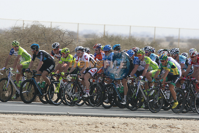 The peloton during Stage 1 of the Tour of Qatar 2012 running 142.5km from Barzan Towers to Doha Golf Club, Doha, Qatar. 5th February 2012.<br /> (Photo by Eoin Clarke/NEWSFILE).
