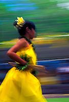 Panned shot of a young hula dancer running with puili ( slit bamboo ) in her hand