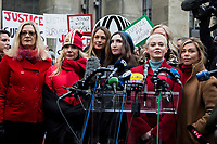 NEW YORK, NEW YORK - JANUARY 6: Actress Rose McGowan, center, speaks with members of the media after Harvey Weinstein arrives at the Manhattan courthouse. On January 6, 2020 in New York City. Weinstein pleaded not guilty to five counts of rape and faces a possible life sentence in prison.(Photo by Pablo Monsalve / VIEWpress)