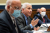 Dr. Anthony Fauci (C), Director of the National Institute for Allergy and Infectious Diseases, National Institutes of Health; testifies alongside Dr. Robert Redfield (L), Director, Centers for Disease Control and Prevention; and Dr. Stephen M. Hahn, Commissioner, U.S. Food and Drug Administration; during a House Energy and Commerce Committee hearing on the Trump Administration's Response to the COVID-19 Pandemic, on Capitol Hill in Washington, DC on Tuesday, June 23, 2020. <br /> Credit: Kevin Dietsch / Pool via CNP/AdMedia