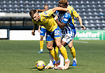 Kilmarnock v St Johnstone……15.08.20   Rugby Park  SPFL<br />Callum Hendry fends off Aaron Tshibola<br />Picture by Graeme Hart.<br />Copyright Perthshire Picture Agency<br />Tel: 01738 623350  Mobile: 07990 594431