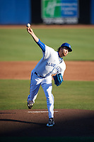 Dunedin Blue Jays starting pitcher T.J. Zeuch (35) delivers a pitch during a game against the Clearwater Threshers on April 8, 2017 at Florida Auto Exchange Stadium in Dunedin, Florida.  Dunedin defeated Clearwater 12-6.  (Mike Janes/Four Seam Images)