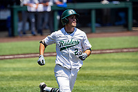Wright State Raiders shortstop Damon Dues (2) hustles to first base against the Duke Blue Devils in NCAA Regional play on Robert M. Lindsay Field at Lindsey Nelson Stadium on June 5, 2021, in Knoxville, Tennessee. (Danny Parker/Four Seam Images)
