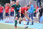MANNHEIM, DEUTSCHLAND, OKTOBER 20: Sonntagsspiel am 7. Spielwochenende in der Feldhockey 1. Bundesliga der Herren in der Saison 2013/2014. Begegnung zwischen dem Mannheimer HC (rot) und Uhlenhorst Mühlheim (grün) am 20. Oktober, 2013 in Mannheim, Deutschland. Endstand 4-1 (1:1). (Photo by Dirk Markgraf/www.265-images.com)<br /> *** Local caption *** #11 Thilo Stralkowski vom HTC Uhlenhorst Mühlheim, #31 Felix Reuß vom HTC Uhlenhorst Mühlheim
