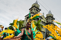 An Afro-Colombian dancer performs in front of the San Francisco De Asis Cathedral during the San Pacho festival in Quibdó, Colombia, 3 October 2019. Every year at the turn of September and October, the capital of the Pacific region of Chocó holds the celebrations in honor of Saint Francis of Assisi (locally named as San Pacho), recognized as Intangible Cultural Heritage by UNESCO. Each day carnival groups, wearing bright colorful costumes and representing each neighborhood, dance throughout the city, supported by brass bands playing live music. The festival culminates in a traditional boat ride on the Atrato River, followed by massive religious processions, which accent the pillars of Afro-Colombian's identity – the Catholic devotion grown from African roots.