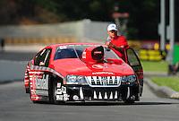 Jun. 18, 2011; Bristol, TN, USA: NHRA pro stock driver V. Gaines during qualifying for the Thunder Valley Nationals at Bristol Dragway. Mandatory Credit: Mark J. Rebilas-