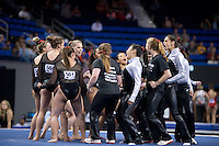 LOS ANGELES, CA - April 19, 2013:  The Stanford women's gymnastics team during the NCAA Championships at UCLA.