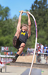 STURGIS, SD: MAY 25:  Sutton Carpenter of Mitchell in the pole vault during the 2018 South Dakota State High School Track Meet at Woodle Field in Sturgis, S.D.  (Photo by Dick Carlson/Inertia)