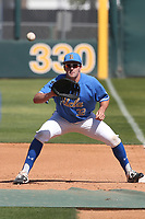 Josh Hahn (32) of the UCLA Bruins takes infield before a game against the Cal State Fullerton Titans at Jackie Robinson Stadium on March 6, 2021 in Los Angeles, California. UCLA defeated Cal State Fullerton, 6-1. (Larry Goren/Four Seam Images)
