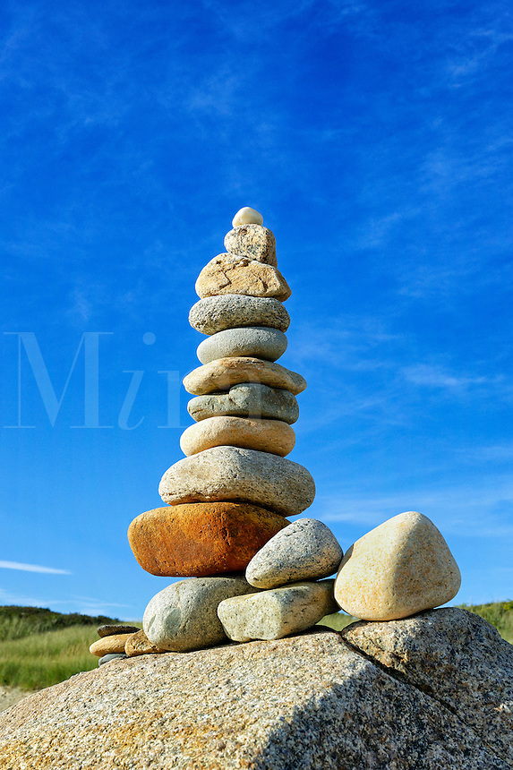 Rock cairn, Gay Head, Aquinnah, Martha's Vineyard, Massachusetts, USA