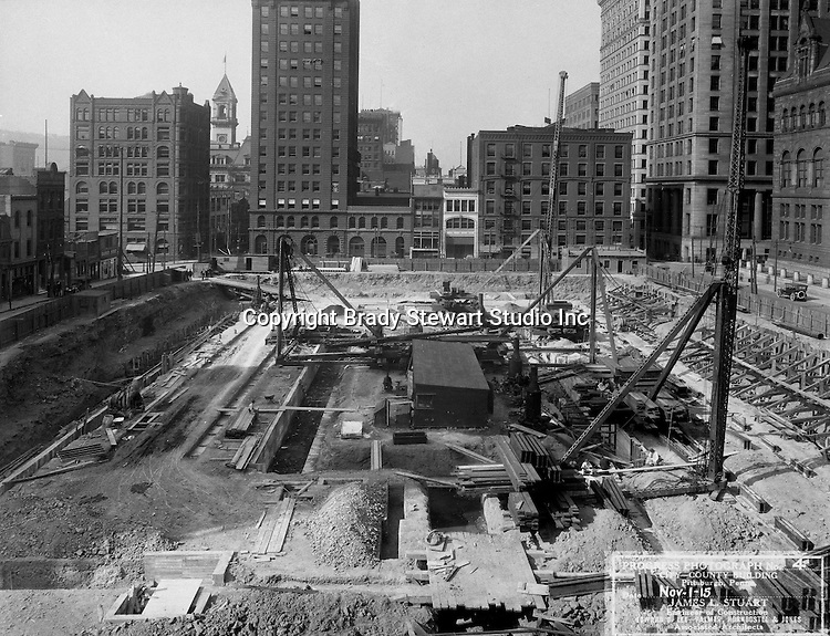 Pittsburgh PA:  View of the building of the City-County building's foundation. The Construction at 414 Grant Street started in 1915 and completed in 1917.<br />