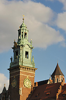 Poland, Krakow, Wawel, Cathedral tower with clock