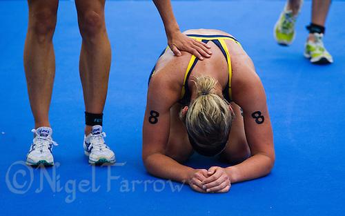 05 JUN 2011 - MADRID, ESP - Lisa Norden recovers after finishing the Madrid round of the women's ITU World Championship series (PHOTO (C) NIGEL FARROW)