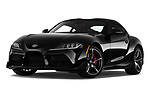 Stock pictures of low aggressive front three quarter view of 2020 Toyota GR-Supra Premium 2 Door Coupe Low Aggressive