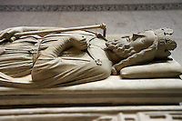 Medieval tomb of Clovis 1st (465 - 511) King of France from 481 to 511, son of Childeric 1st . The Gothic Cathedral Basilica of Saint Denis ( Basilique Saint-Denis ) Paris, France. A UNESCO World Heritage Site.