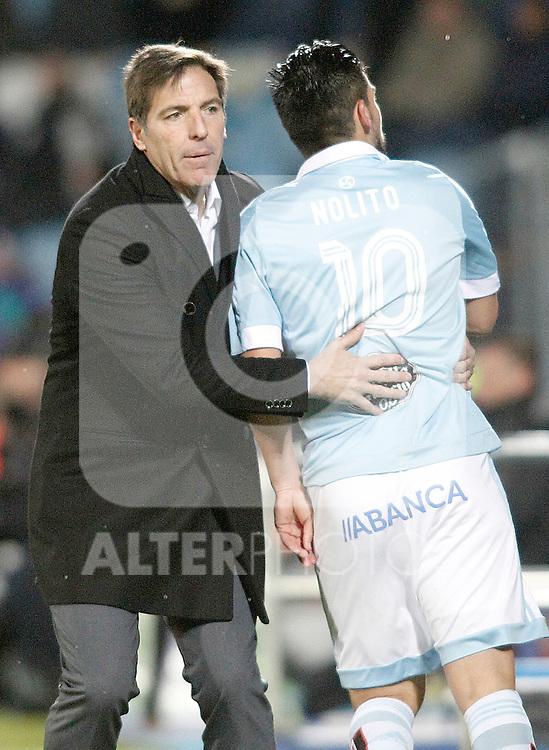 Celta de Vigo's coach Eduardo Berizzo and Nolito during La Liga match. February 27,2016. (ALTERPHOTOS/Acero)