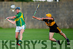 Kilmoyley's James McCarthy about to have his effort blocked by Shane Lyne of Dr Crokes in the Intermediate Hurling Championship semi final.