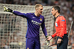 Manchester City's Joe Hart talking with the referee during Champions League 2015/2016 Semi-Finals 2nd leg match at Santiago Bernabeu in Madrid. May 04, 2016. (ALTERPHOTOS/BorjaB.Hojas)
