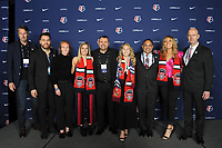 BALTIMORE, MD - JANUARY 16: Ian McCaldon, Michael Minithorne, Tori Huster, Katie McClure, Richie Burke, Ashley Sanchez, Tom Torres, Kaiya McCullough, Bill Lynch during the 2020 NWSL College Draft at the Baltimore Convention Center on January 16, 2020 in Baltimore, Maryland.