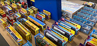 BNPS.co.uk (01202) 558833. <br /> Pic: VectisAuctions/BNPS<br /> <br /> Pictured: The collection on display at Vectis Auctions. <br /> <br /> A man who spent 30 years building an epic collection of Matchbox toy cars is celebrating today after it sold for £480,000.<br /> <br /> Graham Hamilton, 55, fell in love with the miniature toys as a child and would put them back in their boxes after playing with them.<br /> <br /> He began collecting seriously in his early 20s after retrieving a box of his treasured toys from his parents' loft.<br /> <br /> Graham spent over £100,000 acquiring 1,800 Matchbox cars, which was virtually every one made at Matchbox's old Lesney factory in London<br /> between 1962 and 1982.