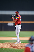 Toledo Mud Hens pitcher Eduardo Jimenez (29) during an International League game against the Durham Bulls on July 16, 2019 at Fifth Third Field in Toledo, Ohio.  Durham defeated Toledo 7-1.  (Mike Janes/Four Seam Images)