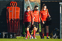 20200911 - TUBIZE , Belgium : Jarne Teulings, Laure De Neve and Tine De Caigny pictured during the training session of the Belgian Women's National Team, Red Flames ahead of the Women's Euro Qualifier match against Switzerland, on the 28th of November 2020 at Proximus Basecamp. PHOTO: SEVIL OKTEM | SPORTPIX.BE