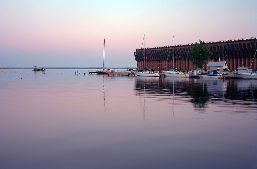 A summer glow at Lower Harbor with the abandoned iron ore dock in the distance. Marquette, MI (Film)