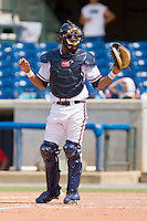 Catcher Christian Bethancourt #19 of the Rome Braves asks for time during a South Atlantic League game against the Greenville Drive at State Mutual Stadium July 25, 2010, in Rome, Georgia.  Photo by Brian Westerholt / Four Seam Images