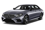 2018 Mercedes Benz E Class Base 4 Door Sedan angular front stock photos of front three quarter view