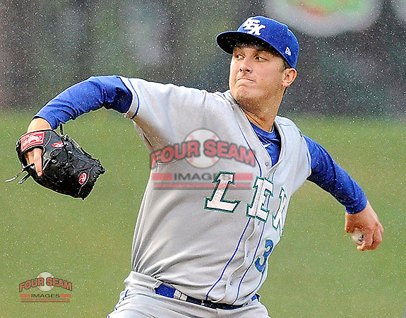 Pitcher Matt Tenuta of the Lexington Legends pitches in the rain  in a game against the Greenville Drive on Tuesday, April 15, 2015, at Fluor Field at the West End in Greenville, South Carolina. (Tom Priddy/Four Seam Images)