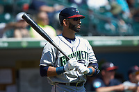 Jose Bautista (19) of the Gwinnett Stripers waits for his turn to bat against the Charlotte Knights at BB&T BallPark on May 2, 2018 in Charlotte, North Carolina.  The Knights defeated the Stripers 6-5.  (Brian Westerholt/Four Seam Images)